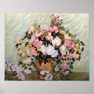 Vase avec des beaux-arts roses de Van Gogh de Posters