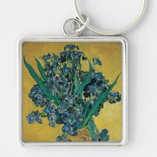 Vase avec des iris par Vincent van Gogh, art Porte-clé Carré Argenté