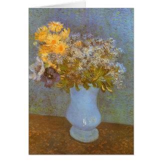 Vase avec des lilas et des marguerites par Vincent Carte De Vœux