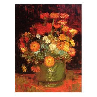 Vase avec des Zinnias par Vincent van Gogh Carte Postale