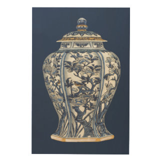 Vase bleu et blanc à porcelaine par le studio de impression sur bois