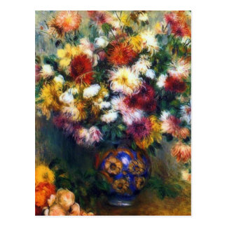 Vase de beaux-arts de chrysanthèmes par Renoir Carte Postale
