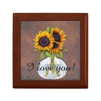 Vase de beaux tournesols sur Brown rustique Boîte À Souvenirs