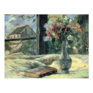 Vase de fleurs à la fenêtre - 1881 carte postale