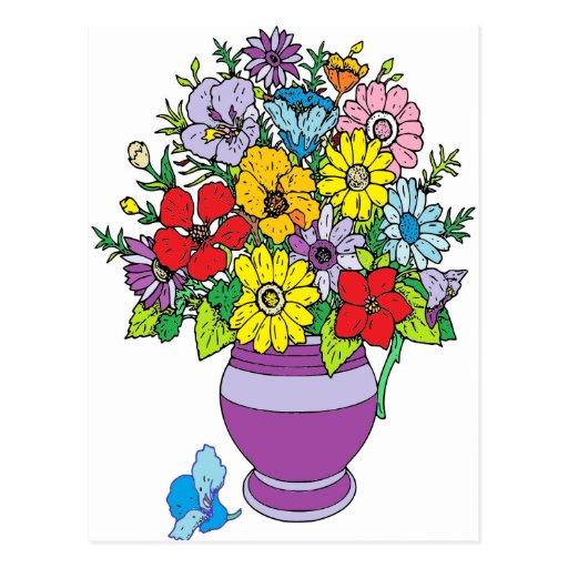 Vase de fleurs carte postale
