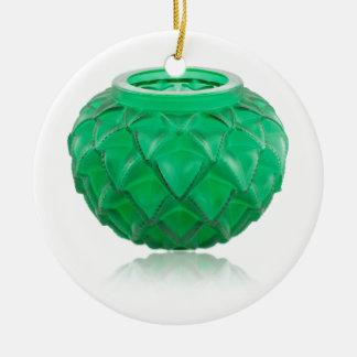 Vase en verre découpé par art déco vert ornement rond en céramique