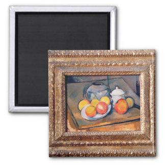 vase, sucrier et pommes Paille-couverts Magnet Carré