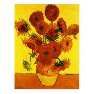 Vase toujours à la vie avec quinze tournesols - cartes postales