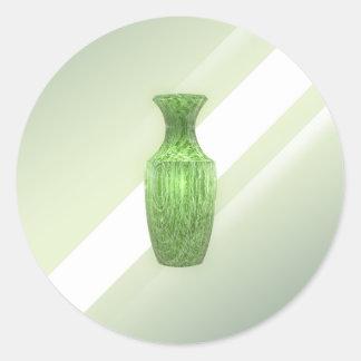Vase vert décoratif sticker rond