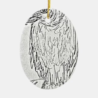 vautour ornement ovale en céramique