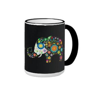 Vecteur animal floral d'éléphant mignon de fleur mugs