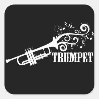 Vecteur de trompette avec des remous autocollants carrés