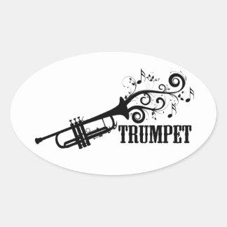Vecteur de trompette avec des remous autocollants ovales