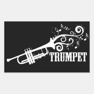 Vecteur de trompette avec des remous autocollants en rectangle