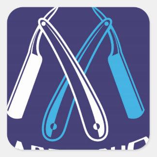 Vecteur d'icône de logo de salon de coiffure sticker carré