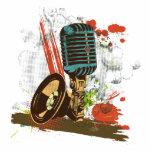vecteur vintage grunge de microphone découpages en acrylique