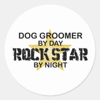 Vedette du rock de Groomer de chien Autocollants Ronds