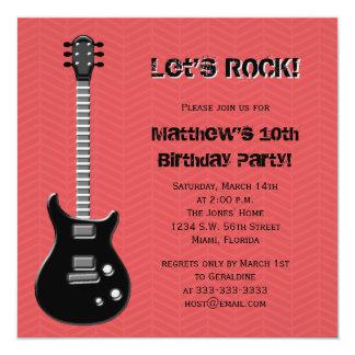 Vedette du rock de guitare carton d'invitation  13,33 cm