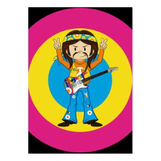 Vedette du rock hippie avec la guitare carte de visite grand format