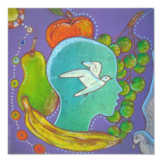 Vegan fruits bird carton d'invitation  13,33 cm