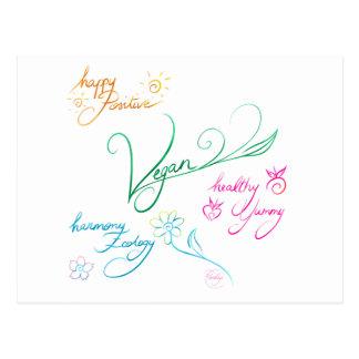 Vegan & happy lifestyle carte postale