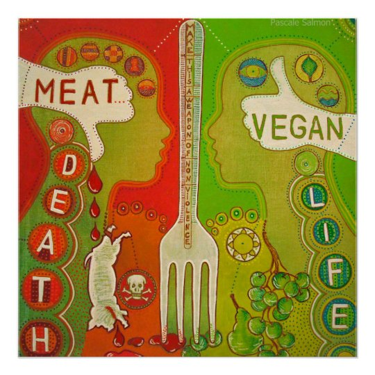 Vegan meat or life Poster