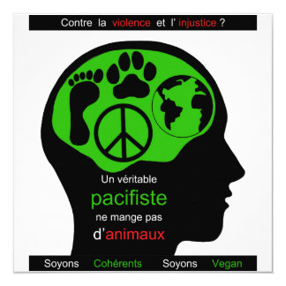 vegan pacifist carton d'invitation  13,33 cm