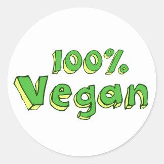 Végétalien 100% sticker rond