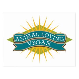 Végétalien affectueux animal carte postale