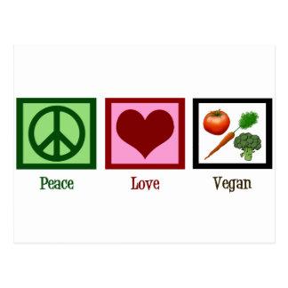 Végétalien d'amour de paix cartes postales