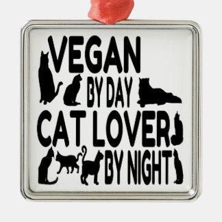 Végétalien d'amoureux des chats ornement carré argenté