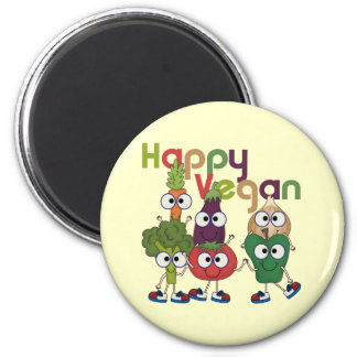 Végétalien heureux magnet rond 8 cm