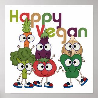 Végétalien heureux affiche