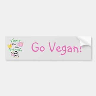 Végétalien pour les animaux avec le porc mignon, autocollant de voiture