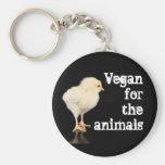 Végétalien pour les animaux - poussin porte-clé rond