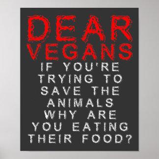 Végétaliens mangeant les signes drôles d'affiche