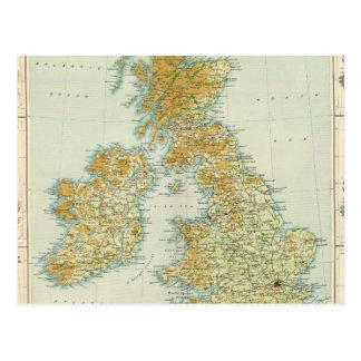 Végétation d'îles britanniques et carte de climat carte postale