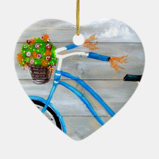 Vélo bleu Zazzle Ornement Cœur En Céramique