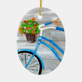 Vélo bleu Zazzle Ornement Ovale En Céramique