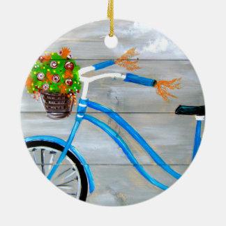 Vélo bleu Zazzle Ornement Rond En Céramique