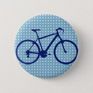 vélo et pois bleus badge