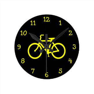 Vélo jaune horloge ronde