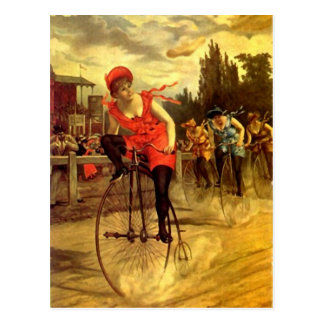 VÉLO VINTAGE DE DAMES EMBALLANT RACE DE BICYCLETTE CARTES POSTALES