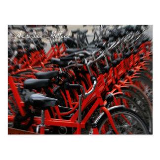 Vélos rouges. Amsterdam, Hollande Carte Postale