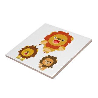 """'Venant ! !"""" Tuile mignonne de trois lions de band Petit Carreau Carré"""