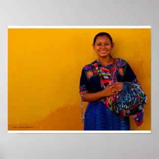 Vendeuse de tissus, Antigua Guatemala Posters