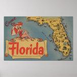 Venez à la carte de la Floride de l'état, fille Pi Posters