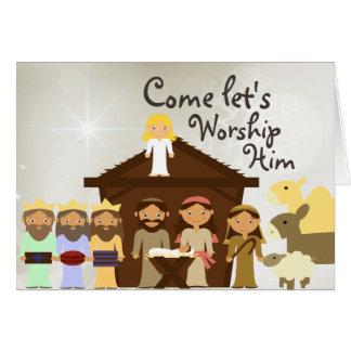 Venez adorez-le carte de Noël de nativité