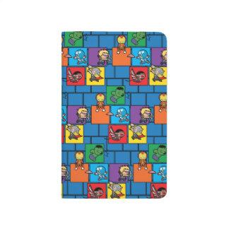 Vengeurs de Kawaii dans les blocs colorés Carnet De Poche