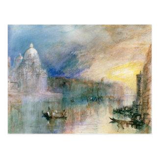 Venise : Canal grand avec le salut de della Santa Cartes Postales